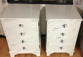 Pair of vintage shabby chic bedside cabinets tables