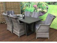 Homeflair Rattan Garden Furniture Victoria Grey Aluminium Plank dining table+6 highback chairs £1299