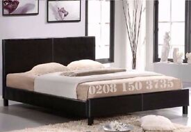 ★★ CASH ON COLLECTION ★★ LEATHER BED 3FT SINGLE 4FT SMALL DOUBLE 4FT6 DOUBLE 5FT KING STRONG FRAME