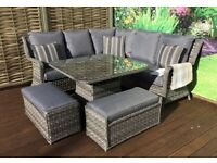 Homeflair Rattan Garden Furniture Mia grey corner sofa + Dining table +2 stools set £999