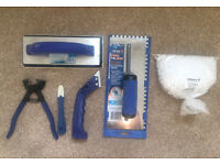 Tiling tools bundle - grout float, rake, spacers, adhesive trowel, sealant smoother, tile trimmer
