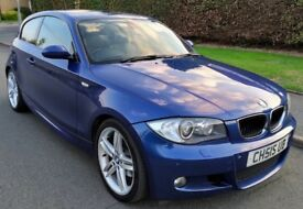 STUNNING 2007 LE MANS BLUE BMW 120D M SPORT 3 DOOR MANUAL FULLY LOADED FSH SAT NAV XENONS LEATHERS