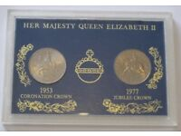 Her Majesty Queen Elizabeth II Coronation Crown and Jubilee Crown coin set