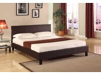 Attractive Design!! NEW Leather Double, King Size Bed Frame With Wooden Slats Black Brown Beds