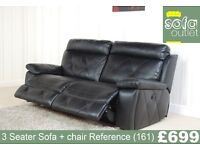 Designer Black Leather 3 seater Sofa + Chair (161) £699
