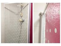 HOME Fully Framed White Spotted Patterned Shower Screen Panel Very Good Cond. 137x 75cm