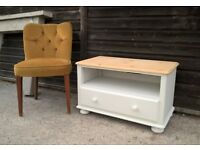 Vinatge White Solid Pine Tv Stand Unit ~ Sideboard *DELIVERY POSS* (drawers Chest of oak)
