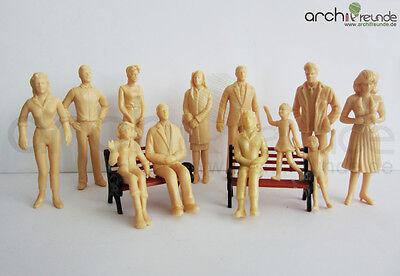 12 x Modell Figuren, hautfarb, unbemalt, für Modellbau 1: 25 und LGB Spur G