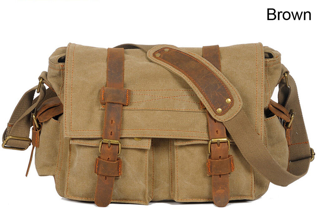 "Men's Military Canvas Leather Satchel School 14"" Laptop Shoulder Messenger Bag"