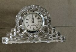Waterford Crystal Small Desk Mantle Clock Working 4 1/2 Wide x 2 1/2 Tall