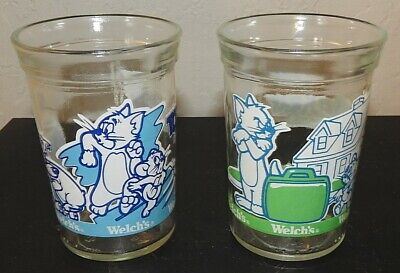 Vintage Welch's Tom & Jerry The Movie Jelly Jar Glasses Set of 2 1993 EUC