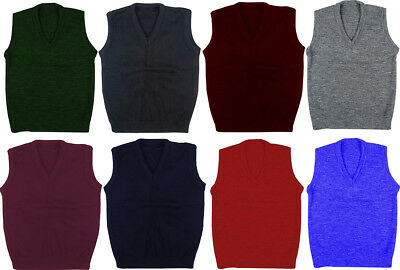 Mens Kids Plain V Neck Sleeveless Sweater Jumper Tank Top Jersey Golf ***New