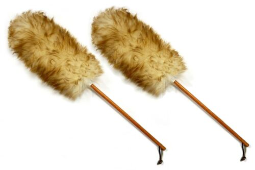 """Qty. 2 -- 25"""" Premium Australian Lambs wool Cleaning Duster with Leather Strap"""