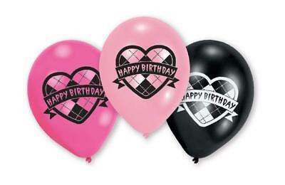 Monster High Happy Birthday Latex Balloons Pink and Black by AMSCAN Pack of 6 - Pink And Black Balloons