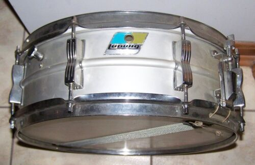 1972 LUDWIG ACROLITE SNARE DRUM W/ORIG. STAND FACTORY PAPER TAG STILL INTACT
