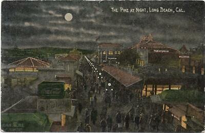 Postcard Long Beach CA The Pike at Night Billiards Coca Cola Theatorium  (The Pike Long Beach)