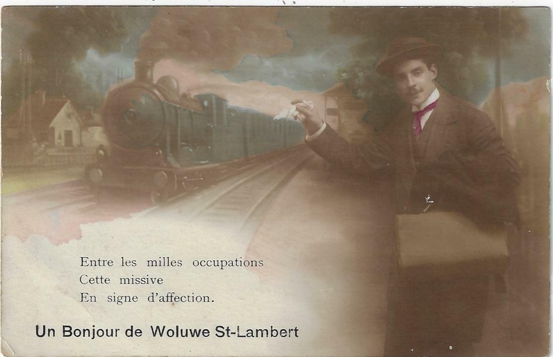CPA Bruxelles Un bonjour de Woluwé St-Lambert train 1919