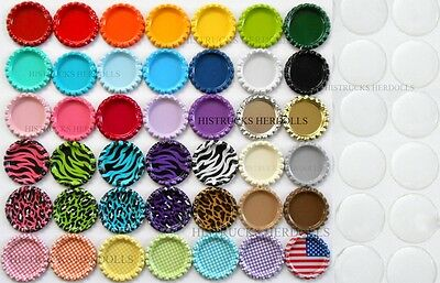 "100 MIX FLAT DOUBLE SIDED COLOR BOTTLE CAPS + 100 1"" CLEAR EPOXY STICKERS"