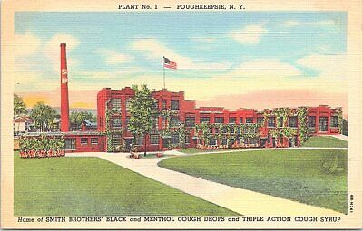 Linen Advertising Smith Bros. Cough Drops Plant #1 Poughkeepsie New York 1940s