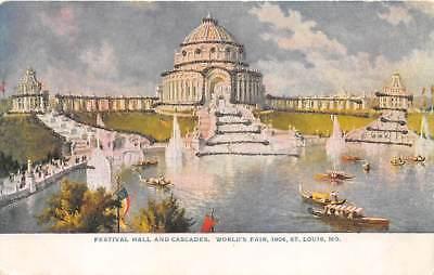 1904 ST LOUIS EXPO ~ FESTIVAL HALL, CASCADES & LAGOON, BOATS