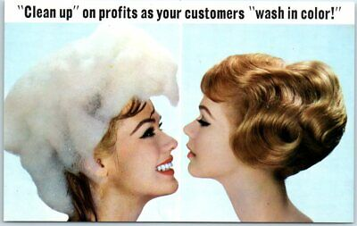 "Vintage 1950s Advertising Postcard WASH 'N TINT Color Shampoo ""1 Free with 11"""