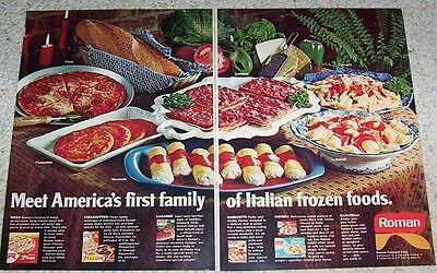 1971 print ad - Roman frozen foods Pizza lasagne ravioli vintage 2-page ADVERT