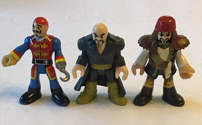 Fisher Price Imaginext Pirate Lot Of 3 Pirates With 2 Tunics Captain Hook Etc