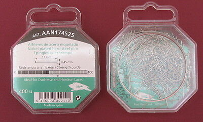 17mm x 0.45mm Small Head 400 pins HARD STEEL BOBBIN LACE / LACEMAKING PIN