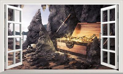 Pirate Cove Treasure Chest 3D Magic Window Wall Art Self Adhesive Vinyl V2*