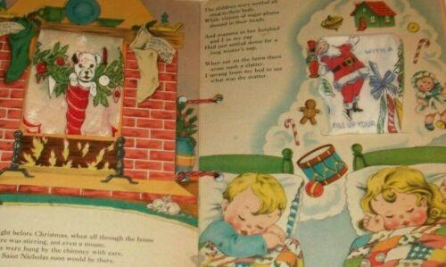 VTG 1941 The Night Before Christmas HANKIES Book W/ Adorable Hankies! Herrmann