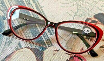 Lesebrille Damen Cat Eye Retro Vintage Federgelenk schwarz-rot stylisch