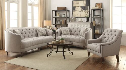 Curvy Beige Tufted Linen Like Sofa Love Seat Living Room Furniture Set