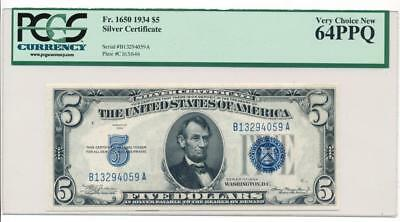$5 1934 Silver Certificate PCGS 64PPQ Fr 1650 uncirculated