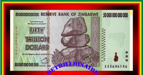 50 Trillion Zimbabwe Dollars Circulated,AU. P90. [5 10 20 100] BILLION. MILLION.