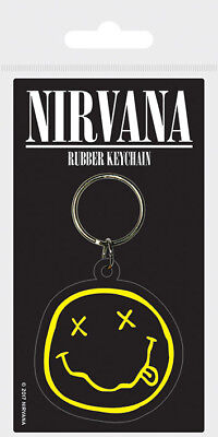 Nirvana Smiley Face Rubber Keychain Keyring Black Yellow Rubber Metal