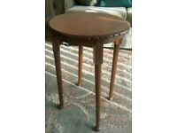 Vintage tall oak side table