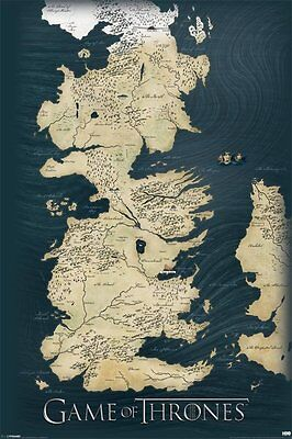 Game Of Thrones   Map   Seven Kingdoms Of Westeros   Tv Poster