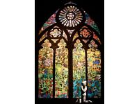 Banksy Poster Church Boy Praying Stained Glass Street Art A2 Paper Laminated Encapsulated Graffiti