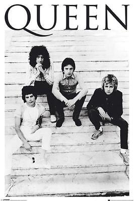 QUEEN ON STEPS B&W POSTER BRIAN MAY FREDDY MERCURY NEW 24x36 FREE SHIP