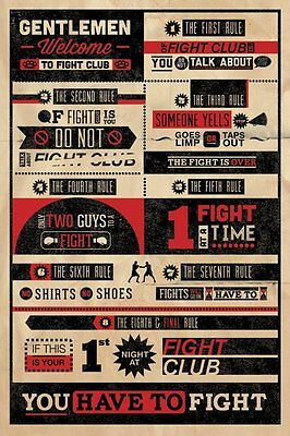 Poster FIGHT CLUB - Rules - Infographic ca60x90cm NEU 57771