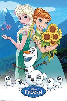 Poster FROZEN FEVER (Die Eiskönigin Party-Fieber) - Sonnenblumen Elsa NEU 58490