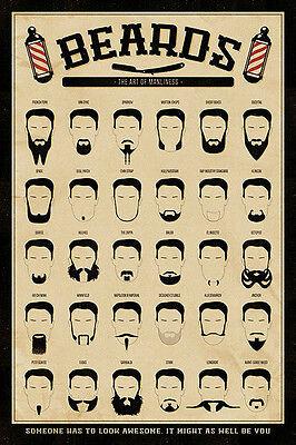 Beard Gang Chart Movember Mustache Goatee Barber Brand New 24X36 Poster Mancave