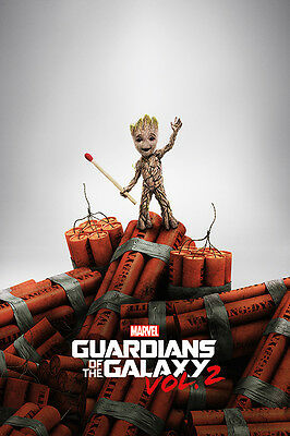 Guardians Of The Galaxy Vol  2   Movie Poster   Print  Baby Groot On Dynamite