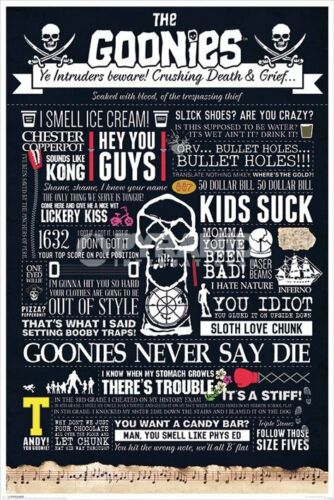 The Goonies - Infographic POSTER 61x91cm NEW * movie quotes Never Say Die