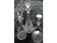 Three wine/spirits decanters