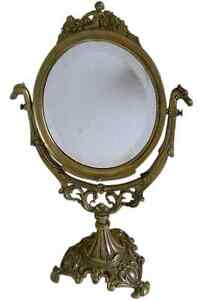 Antique Victorian Brass Vanity Swivel Mirror Frame With Glass