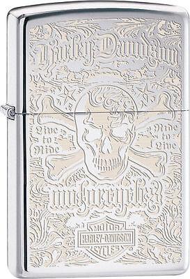 Zippo Windproof Harley Davidson Skull & Logo Lighter, 28229, New In Box