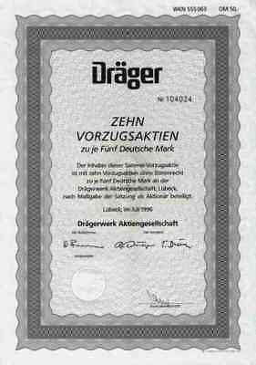 Drägerwerk AG 1996 Lübeck Gerling Medizin Raumfahrt TOP 50 DM Sammelvorzugsaktie