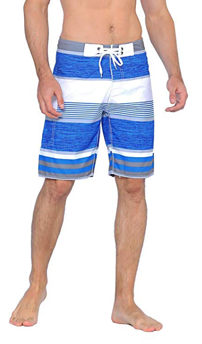 Unitop Men's Classical colorful Striped Print Surfing Beach