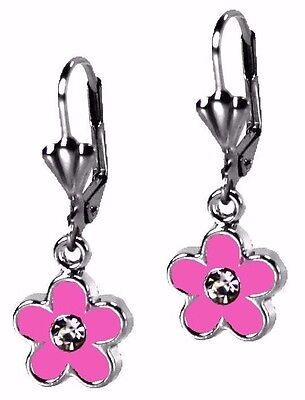 Hot Pink Flower Dangle Enamel Silver Fashion Earrings By Grace Of New York  ()